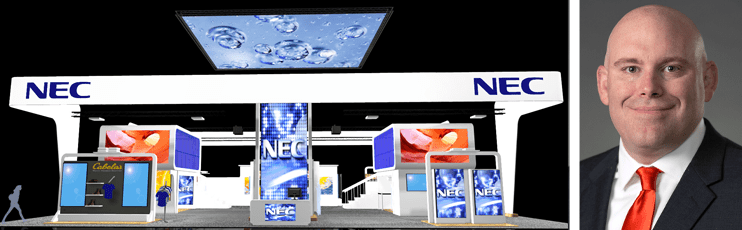 Collage of NEC display technology and Richard Ventura