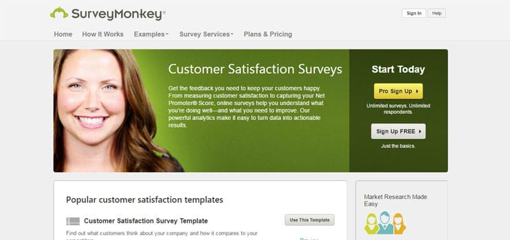 SurveyMonkey's Customer Satisfaction Survey Page