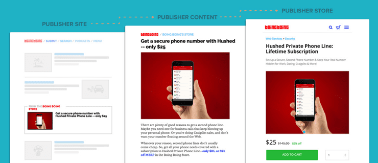 Screenshot of publisher content monetization