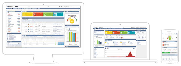 Screenshot of NetSuite platform dashboards
