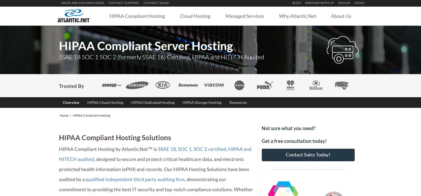 Screenshot of Atlantic.Net HIPAA-compliant hosting