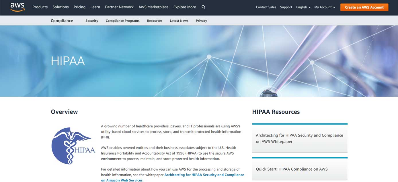 Screenshot of Amazon Web Services HIPAA-compliant hosting