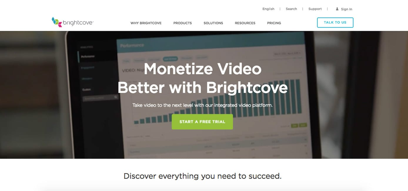 Screenshot of Brightcove homepage