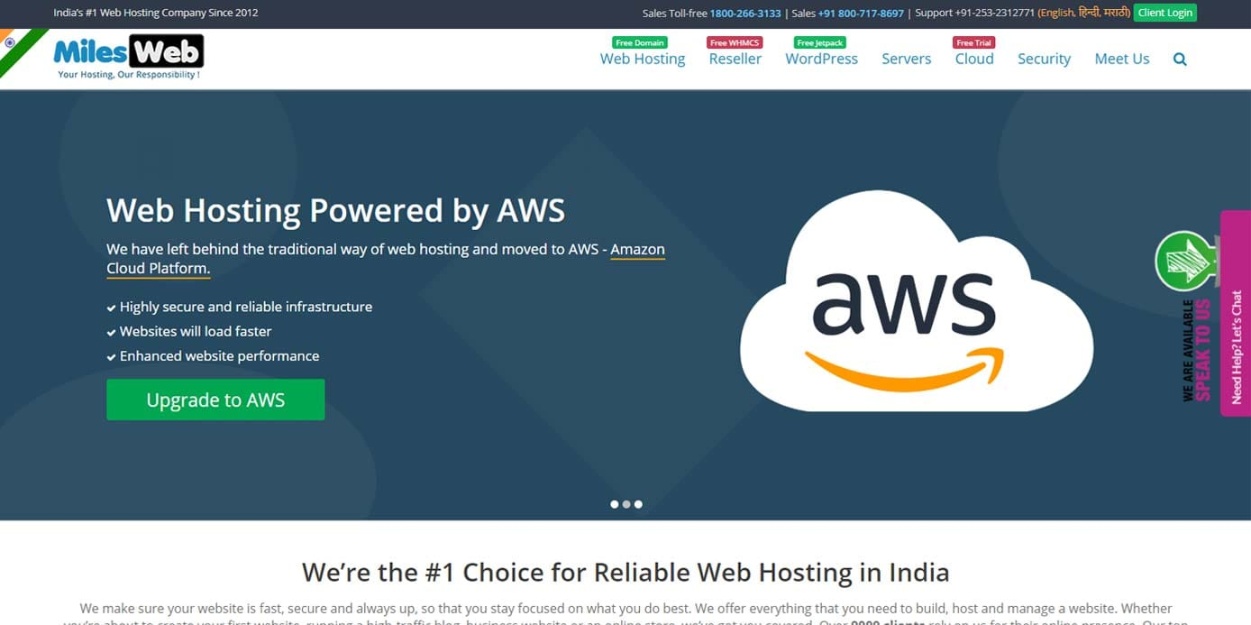 Screenshot of MilesWeb homepage