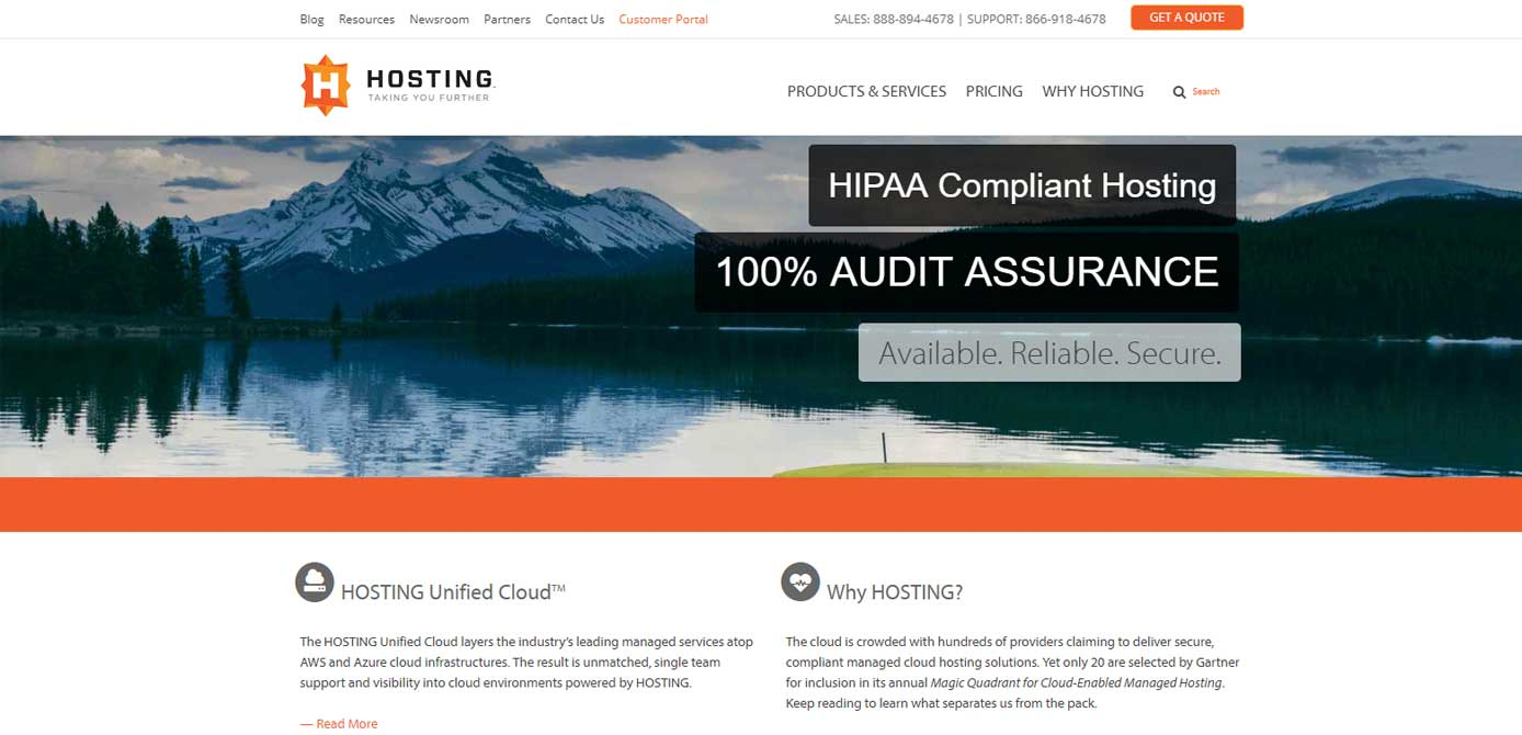 Screenshot of HOSTING HIPAA-compliant hosting