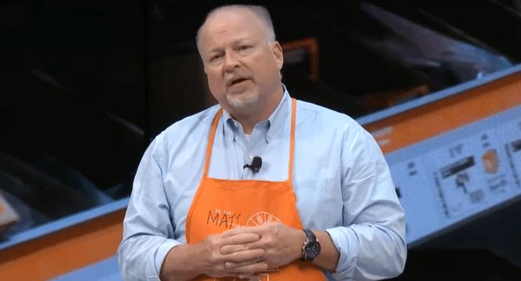 Screenshot of Home Depot CIO Matt Carey speaking at HPE's 2016 Discover Las Vegas Conference