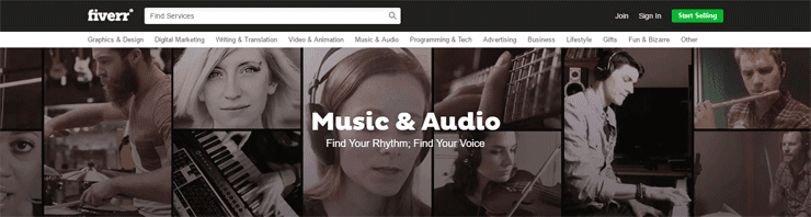 Screenshot of the Music & Audio category on Fiverr