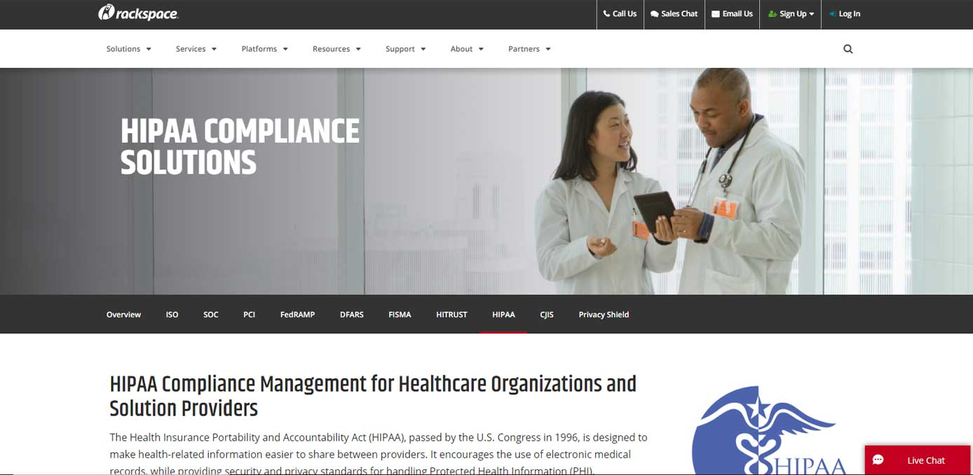 Screenshot of Rackspace HIPAA-compliant hosting