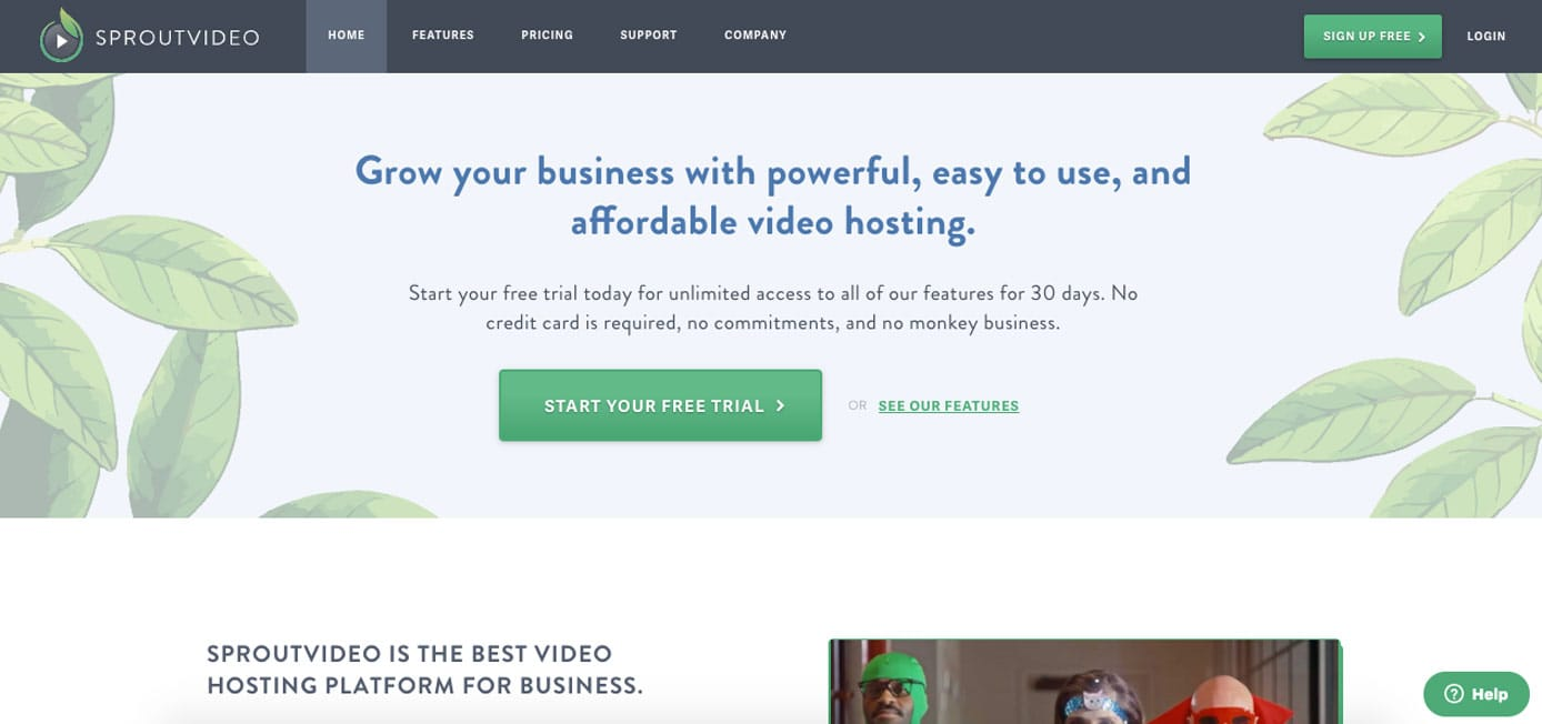 Screenshot of SproutVideo homepage