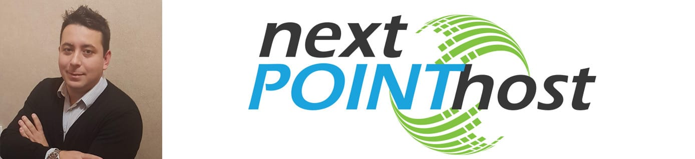 Headshot of NextPointHost Founder Genko Penev and company logo