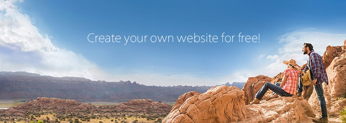 "Banner reading ""Create your own website for free"""