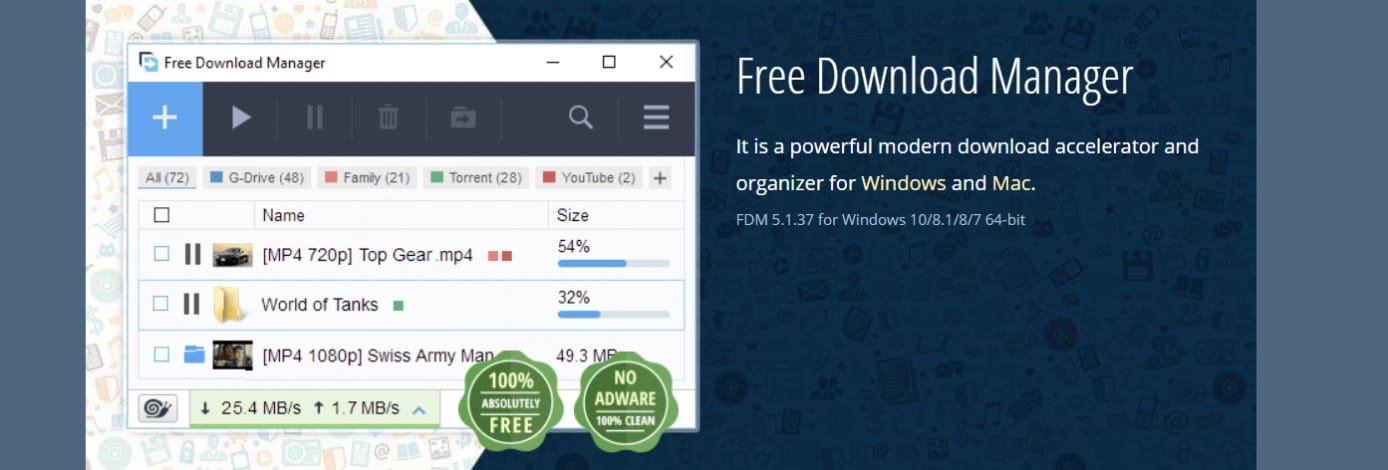 Screenshot of Free Download Manager website