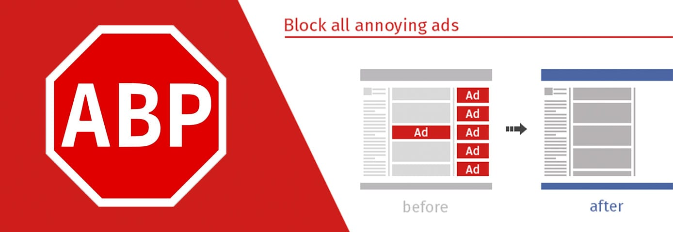 Adblock Plus logo and marketing graphic