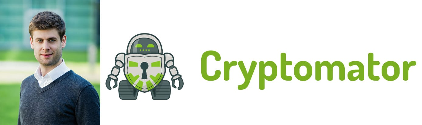 Christian Schmickler, Managing Partner at Cryptomator, and company logo
