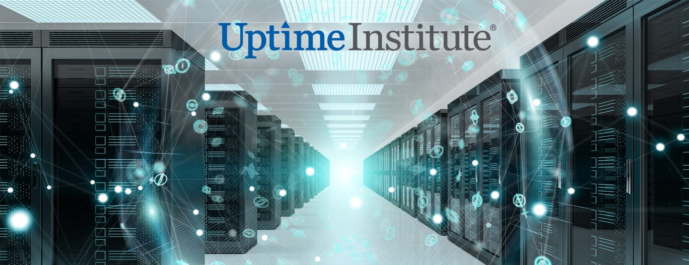 A datacenter and the Uptime Institute logo