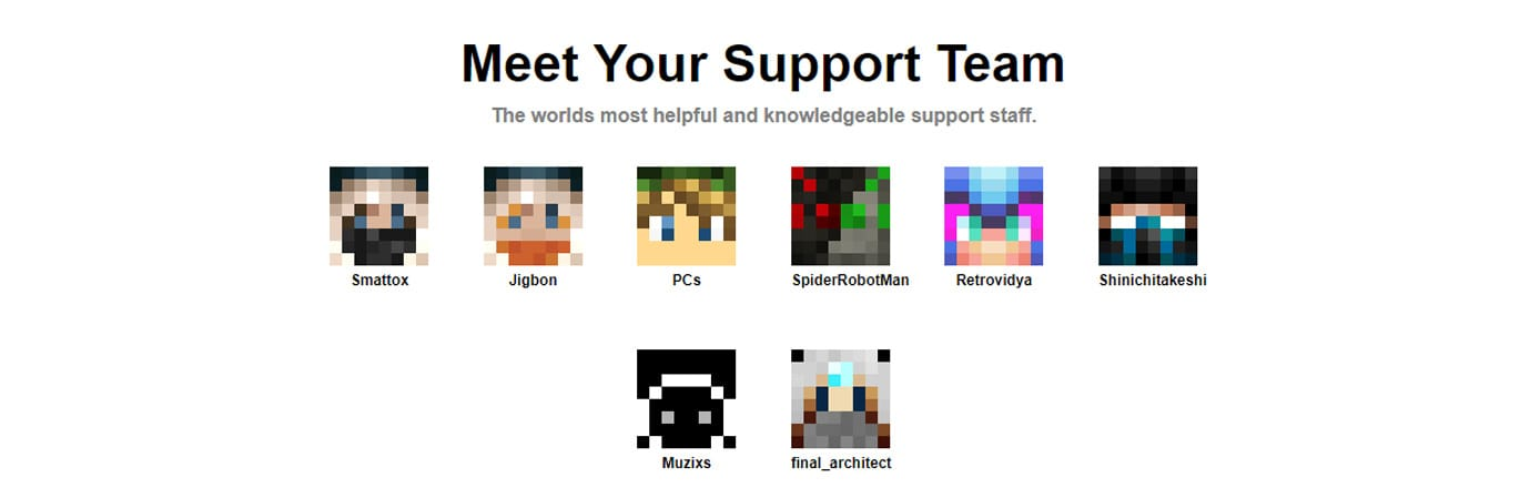 Minecraft icons representing support staff