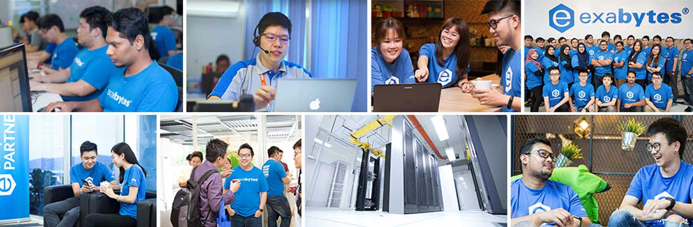 Collage of images showing Exabytes employees and datacenter space