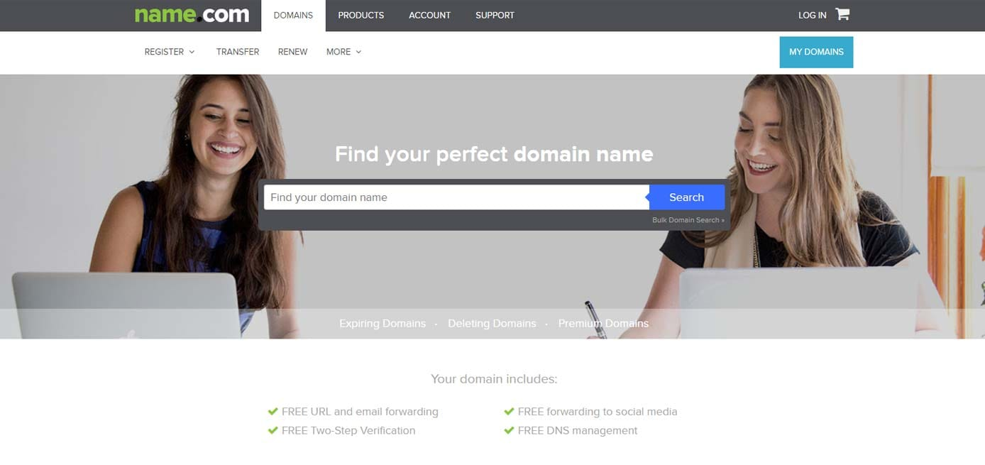 Screenshot of Name.com domain registrations
