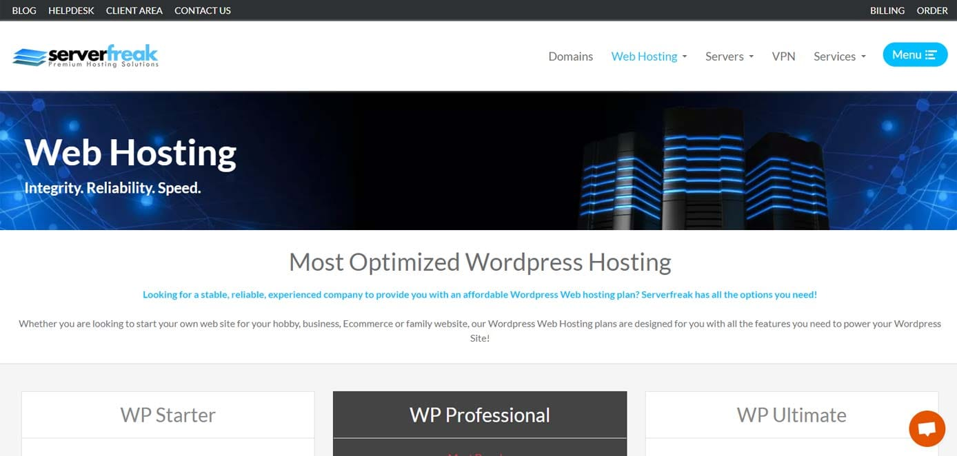 Screenshot of ServerFreak's WordPress hosting page