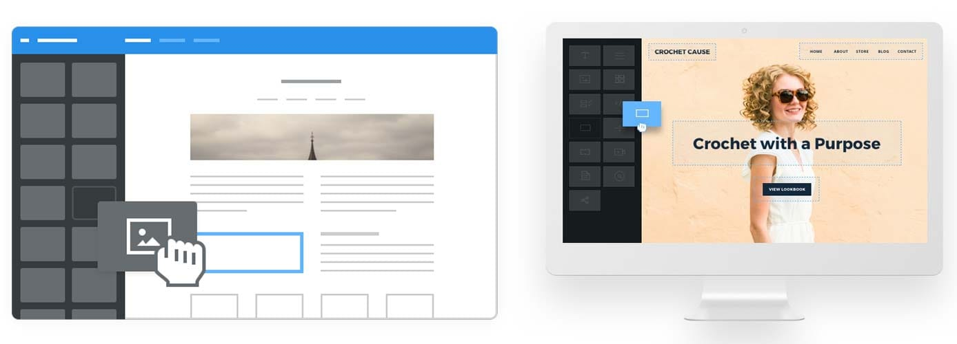 Illustrations of the Weebly website builder