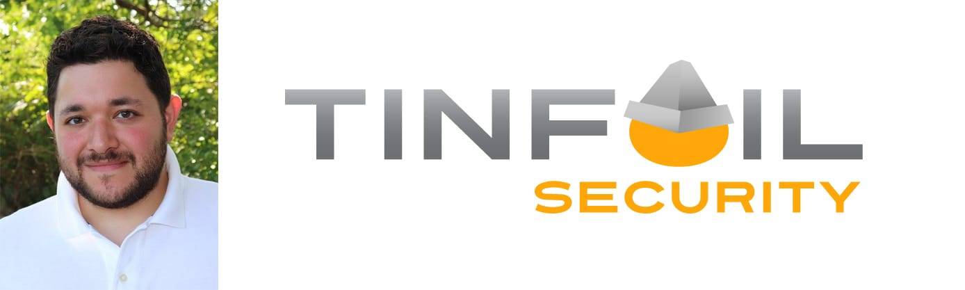 Michael Borohovski, Co-Founder & CTO at Tinfoil Security, and Tinfoil Security logo