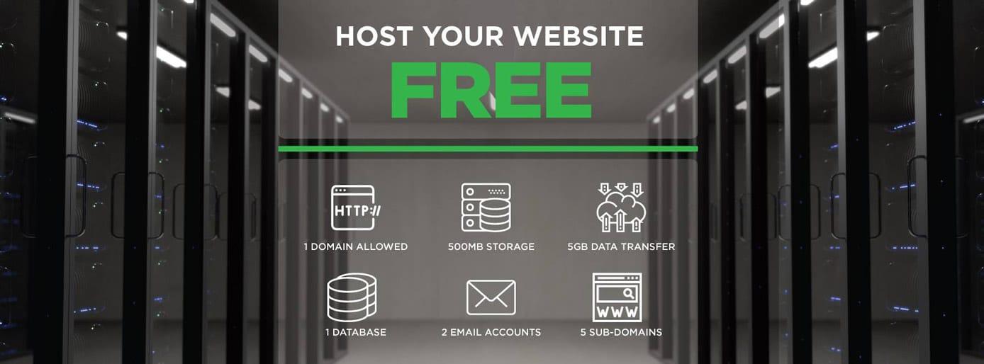 Screenshot of QualiSpace free hosting offer