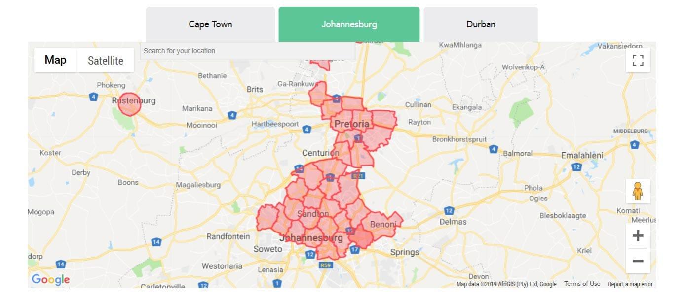 Screenshot of RSAWEB Johannesburg availability