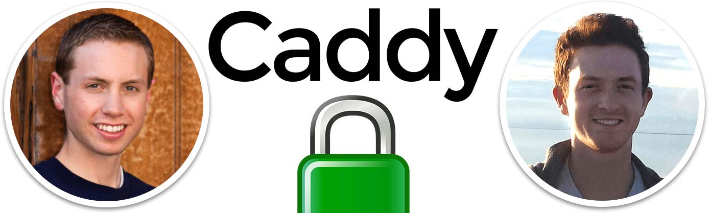 Images of Caddy Co-Founders with the project's logo