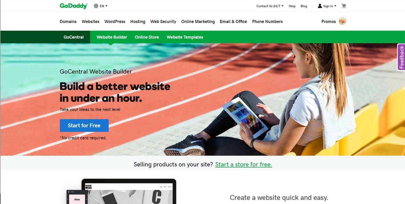 Screenshot of GoDaddy website