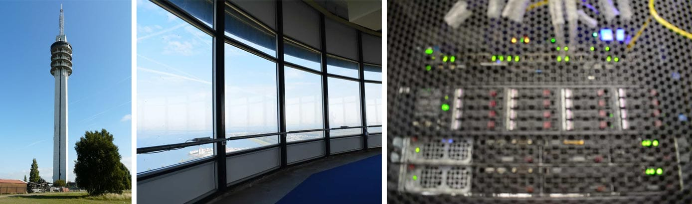 Images of HostSlim's datacenter in an Alticom tower