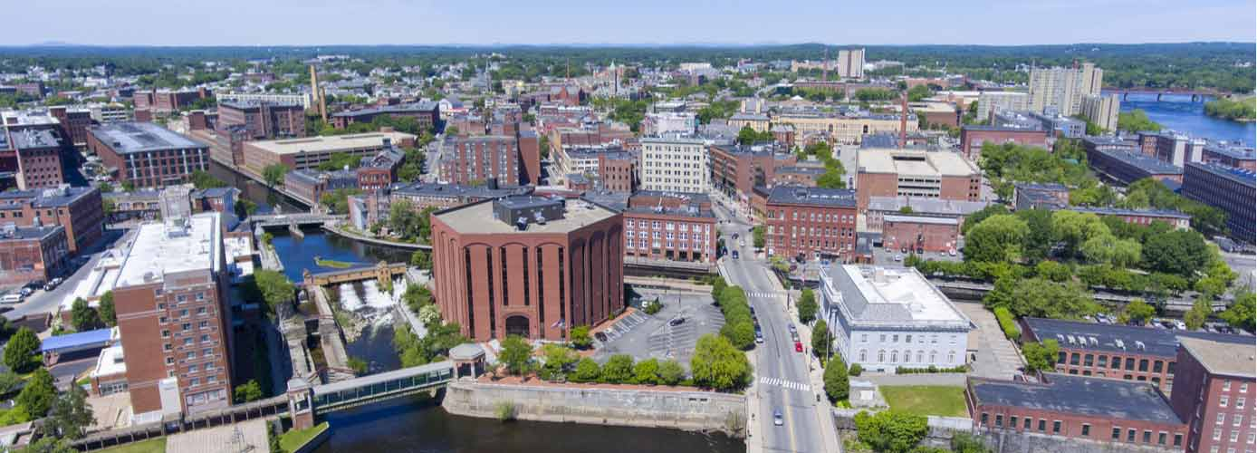 Aerial view of Lowell, Massachusetts