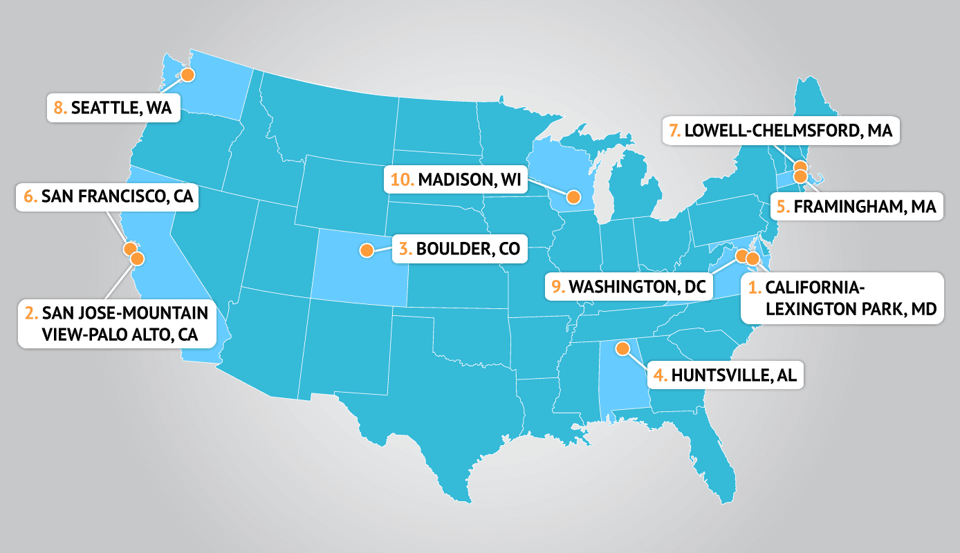 Map of the most tech-savvy cities in the U.S.