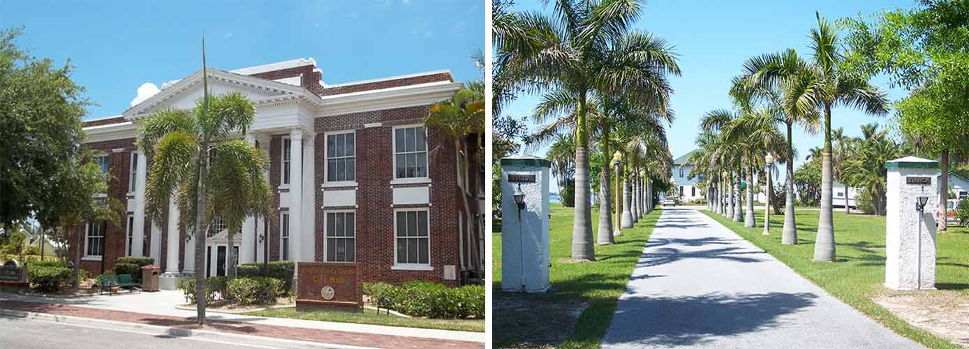 Images of Punta Gorda city hall and Villla Bianca