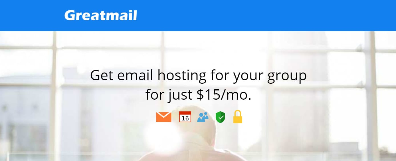 Screenshot of Greatmail homepage