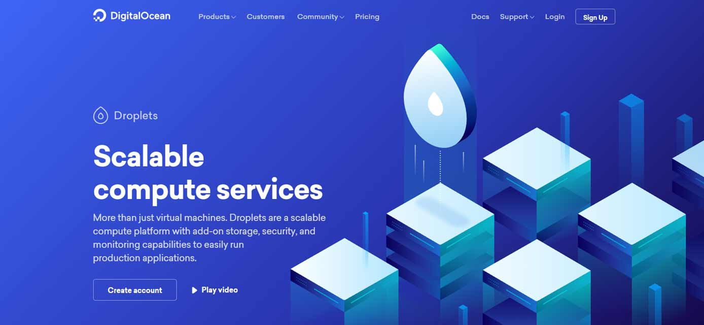 Screenshot of DigitalOcean's cloud computing website