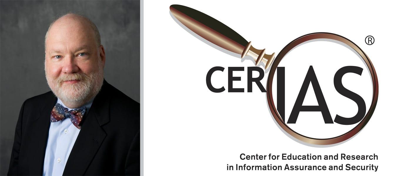 Gene Spafford, Executive Director Emeritus, and CERIAS logo