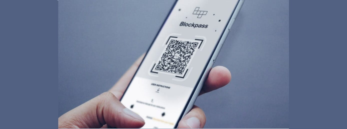 Photo of a mobile phone with Blockpass app