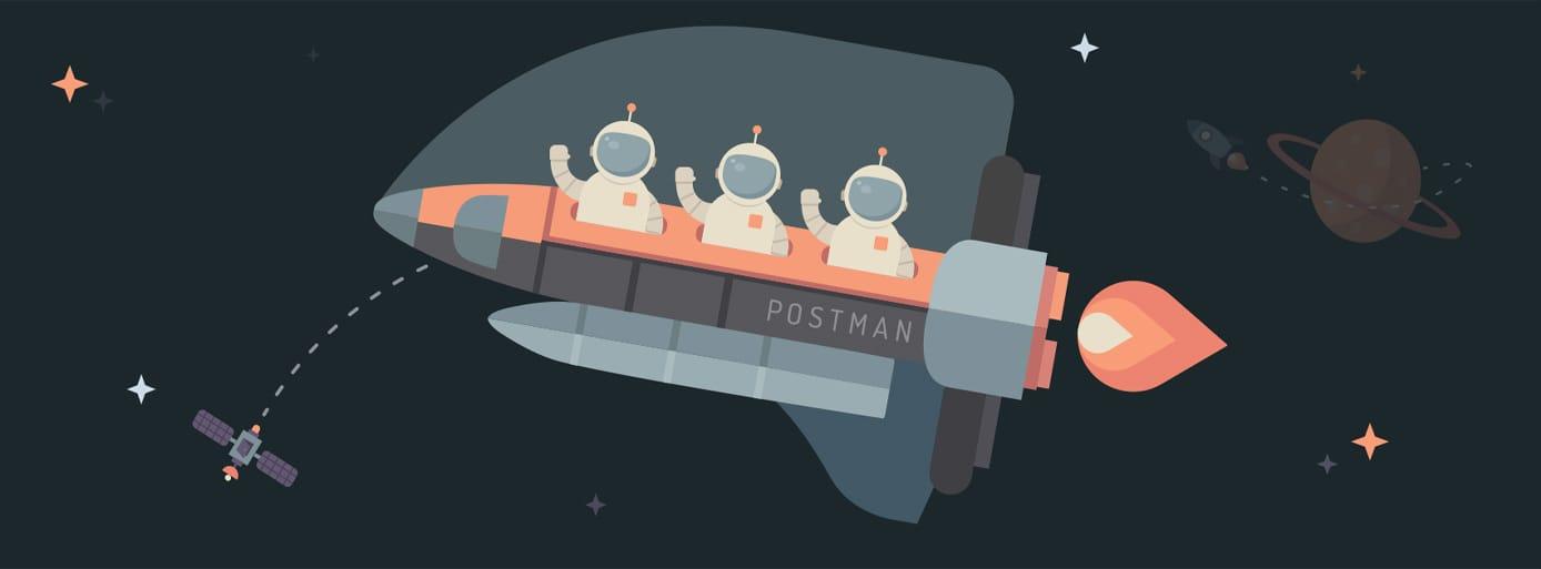 Postman's spaceship branding imagery