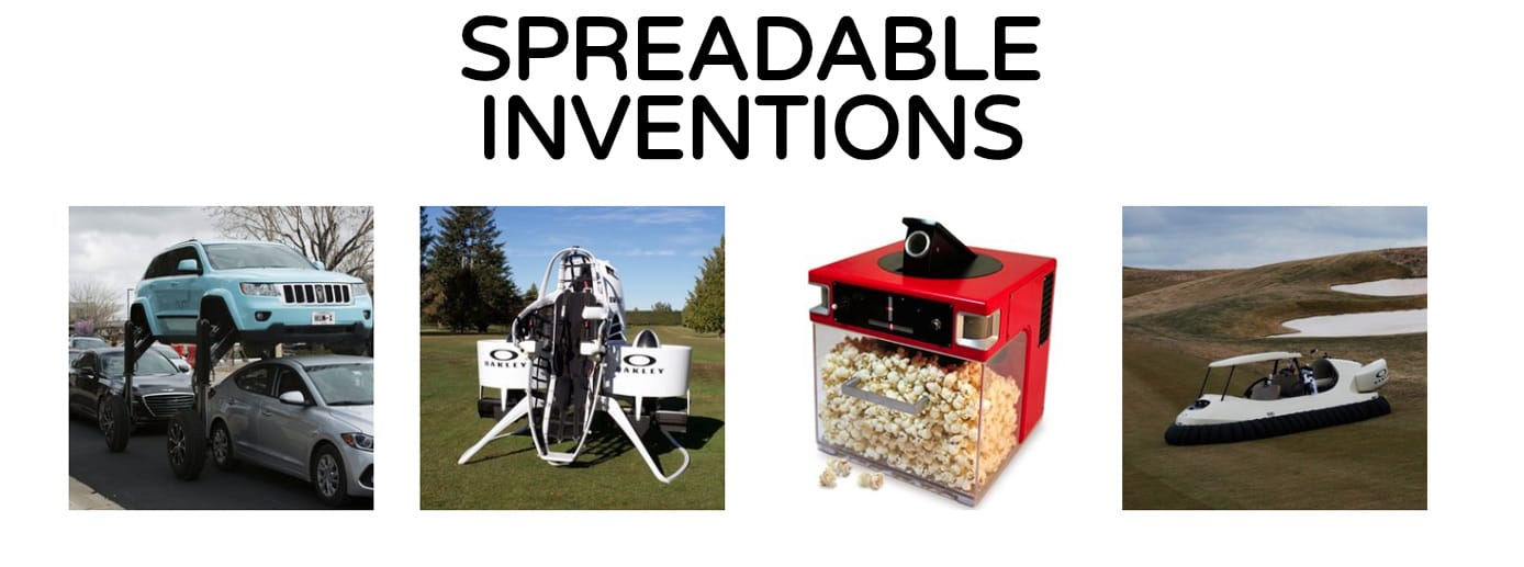 "Text reading ""Spreadable Inventions"" and photos of Jelly products"