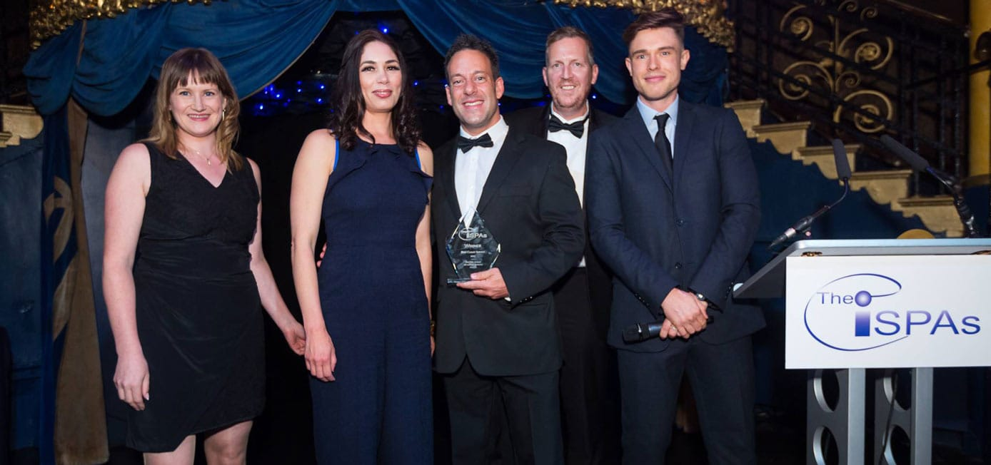 Photo of Storm Internet team accepting an ISPA award