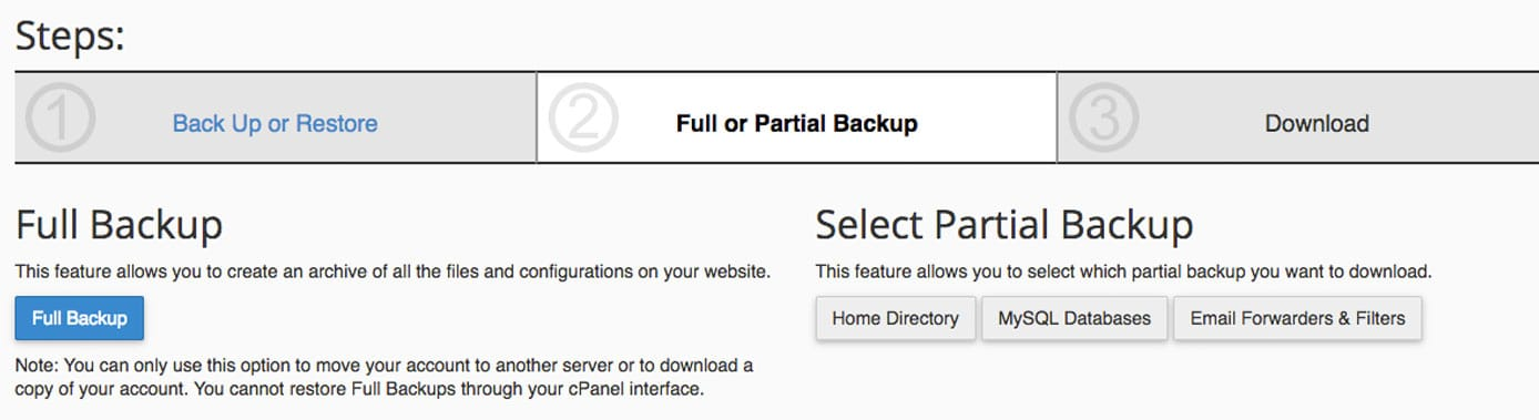 Screenshot of cPanel backup wizard