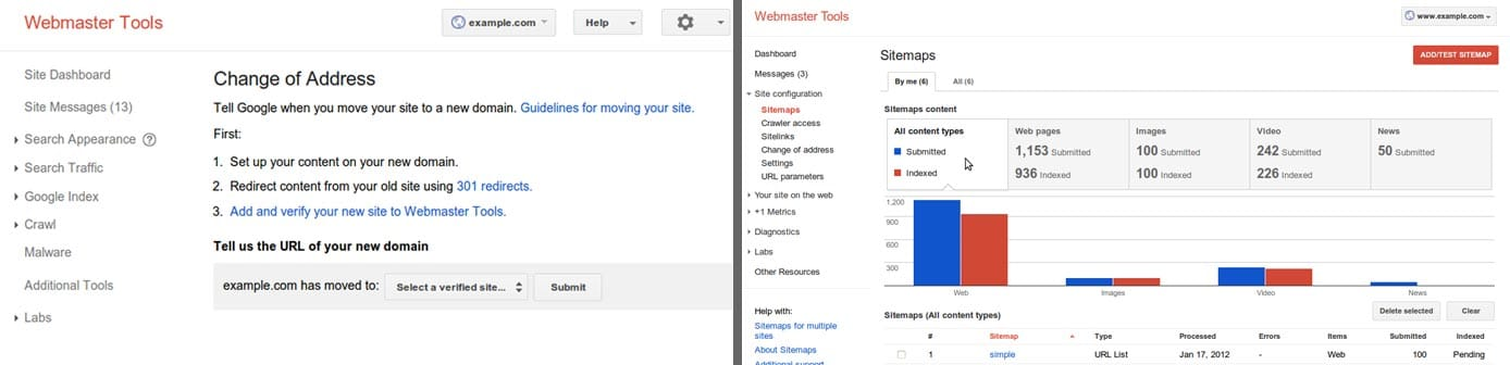 Screenshots of Google Webmaster Tools for new address and sitemaps