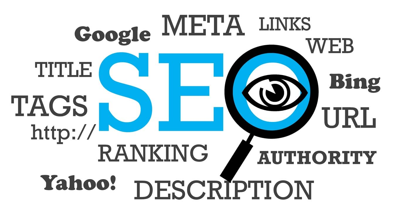Word cloud of SEO terms