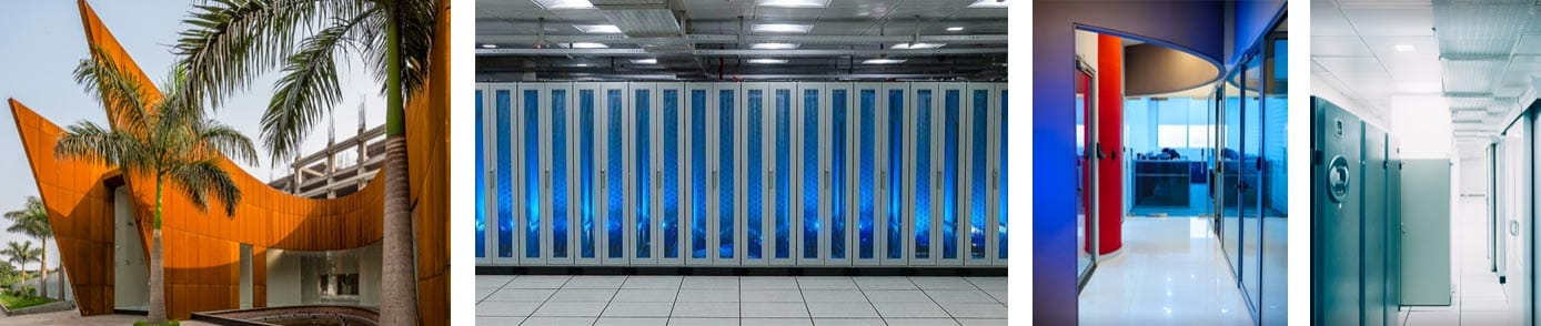 Collage of photos of HostNamaste datacenters