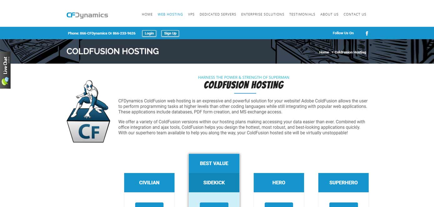 Screenshot of CFDynamics ColdFusion hosting page