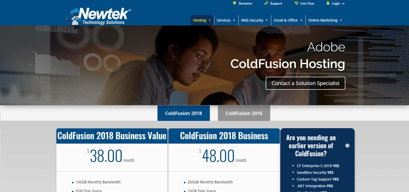 Screenshot of Newtek ColdFusion hosting page