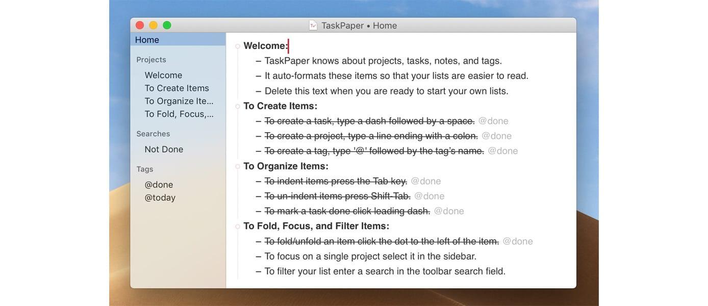 Screenshot of TaskPaper