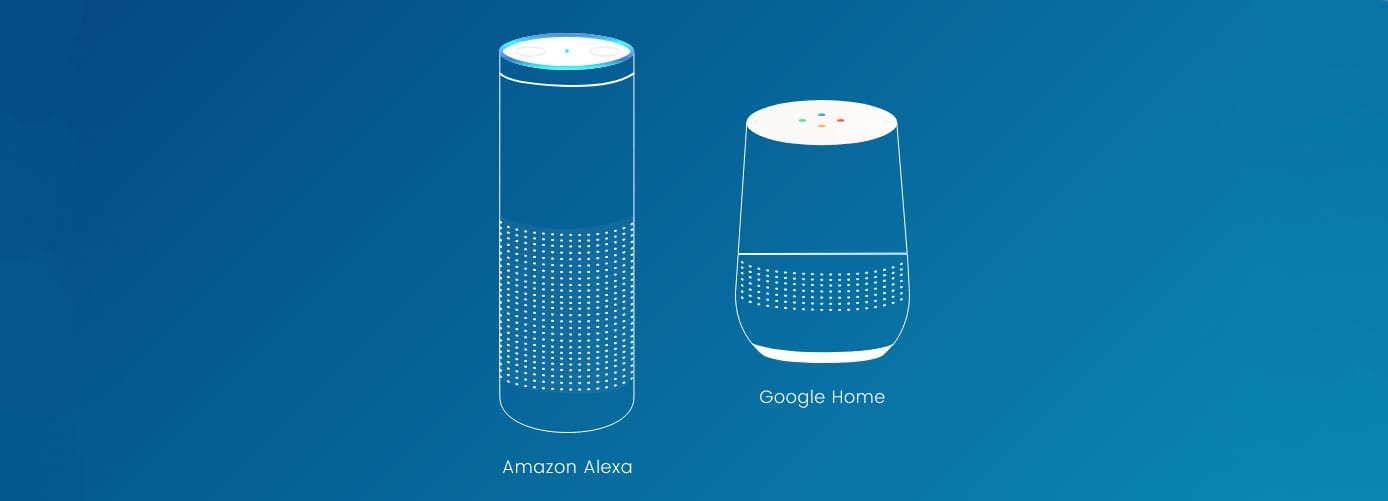 Icons representing Google Home and Alexa