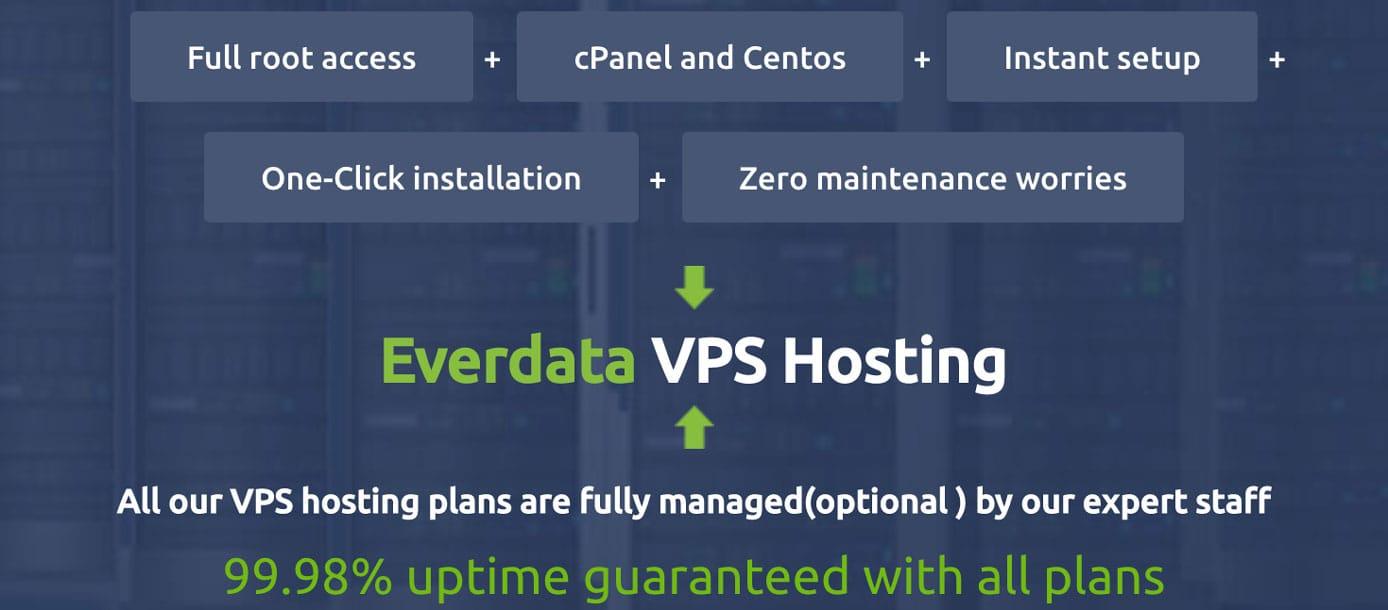 Screenshot of EverData VPS offerings