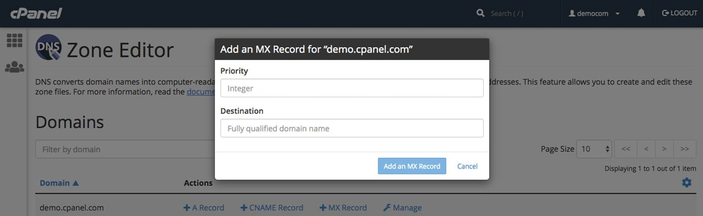 Screenshot of cPanel's DNS Zone Editor area
